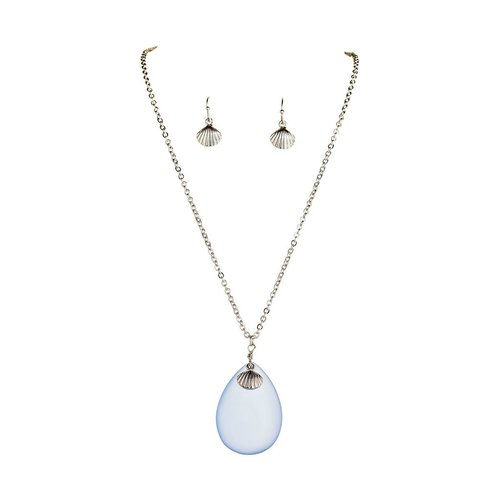 Rain Blue Seaglass Necklace and Earring Set