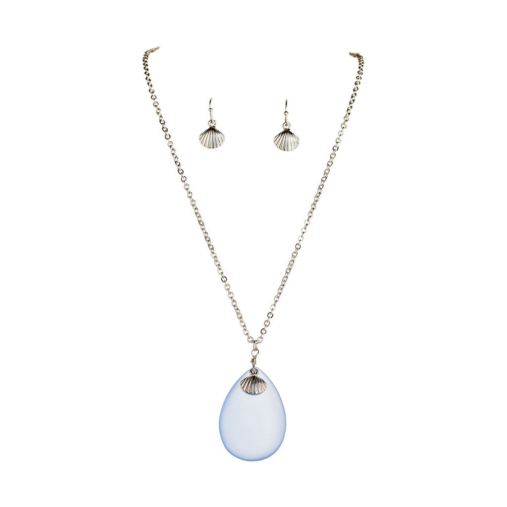 Blue Seaglass Necklace and Earring Set