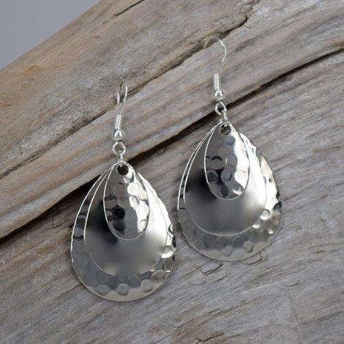 Eye Catching Jewelry Triple Silver Teardrop Earrings