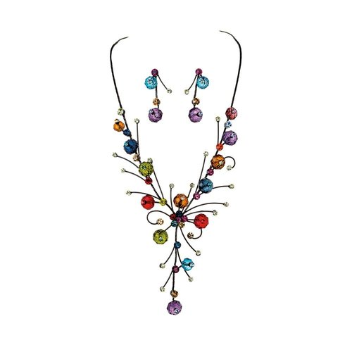 Rain Black Floral Necklace and Earrings Set