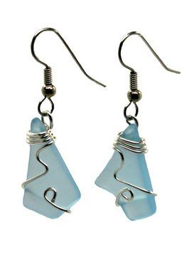 Mermaid Tears Wired Sea Glass Earrings