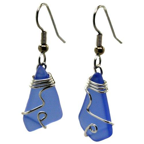 Mermaid Tears Wired Sea Glass Earrings