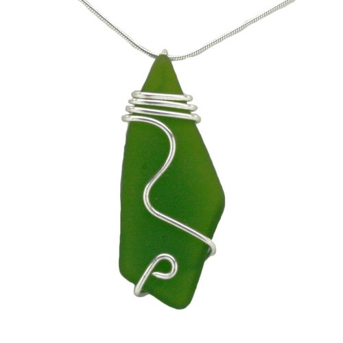 Mermaid Tears Wired Sea Glass Necklace