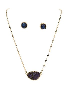 Blue Druzy Necklace and Earrings Set