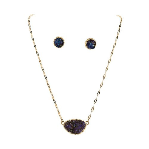 Rain Blue Druzy Necklace and Earrings Set
