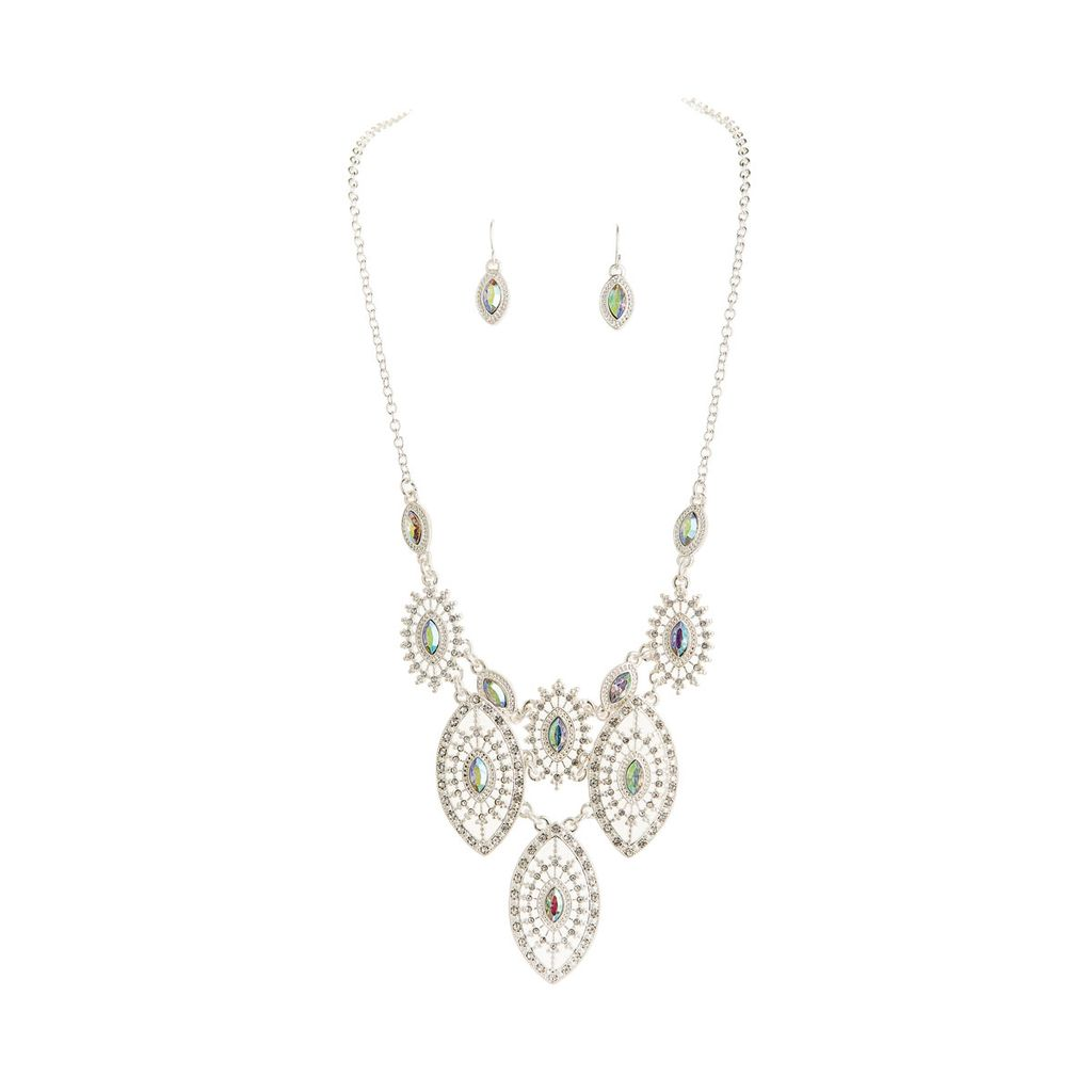 Silver Filigree Bib Necklace and Earrings Set