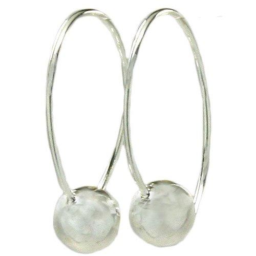 Silver Ball on Wire Earrings
