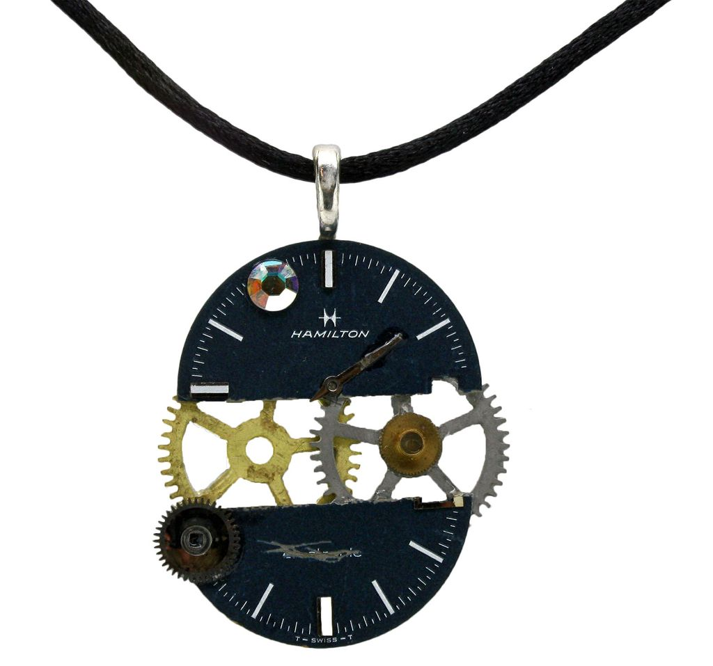 Caterpillars in Blue Jeans Watch Parts Necklace