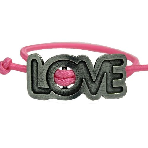 Whitney Howard Love Adjustable Stretch Bracelet Pink