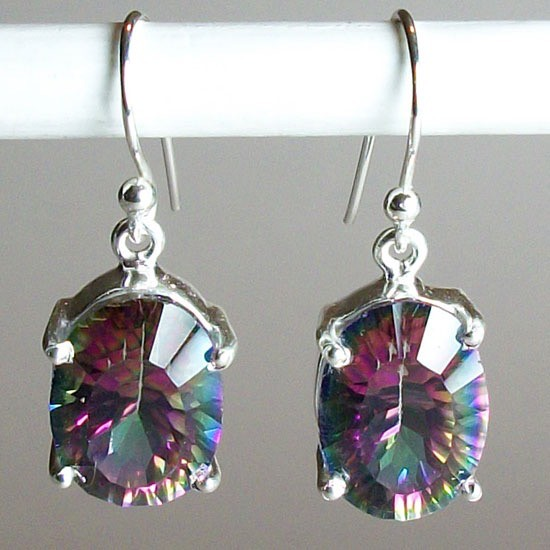 sterling topaz silver earrings genuine lovegem item mystic mm