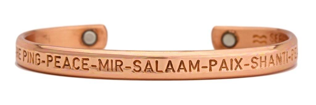Sergio Lub Peace Copper Magnetic Cuff Bracelet