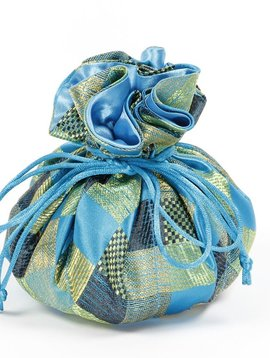 Cathayana Aqua Brocade Jewelry Pouch