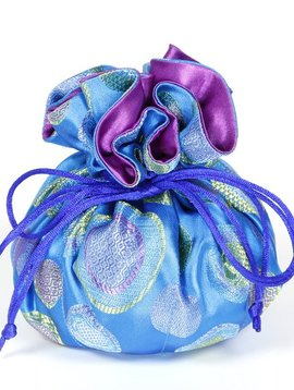Cathayana Cobalt Blue Brocade Jewelry Pouch