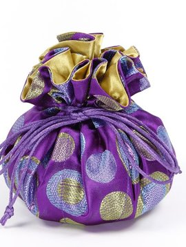 Cathayana Purple Brocade Jewelry Pouch