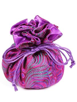 Cathayana Purple Peacock Brocade Jewelry Pouch