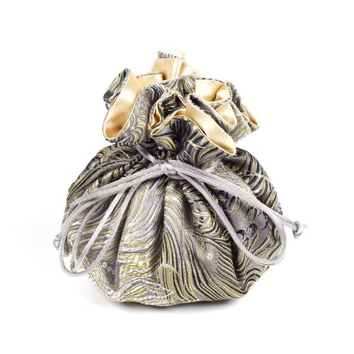 Cathayana Gold/Grey/Black Brocade Jewelry Pouch