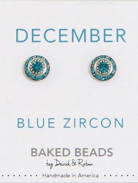 Baked Beads December Crystal Birthstone Post Earrings