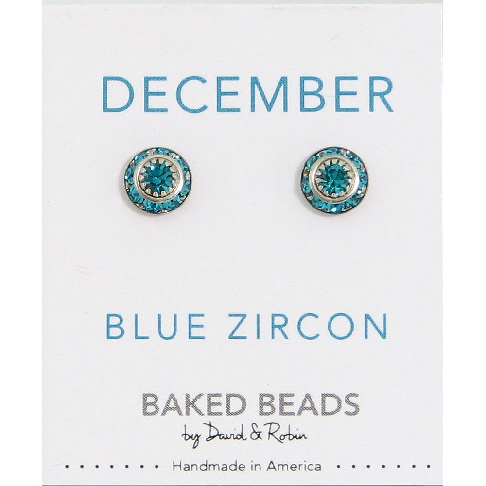 Baked Beads December Crystal Birthstone Post Earrings