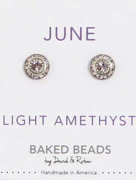 Baked Beads June Crystal Birthstone Post Earrings