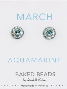 Baked Beads March Crystal Birthstone Post Earrings