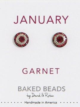 Baked Beads January Crystal Birthstone Post Earrings