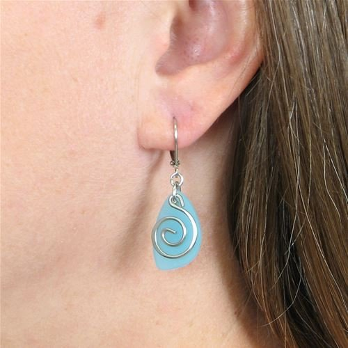Baked Beads Frosted Glass Swirl Earrings