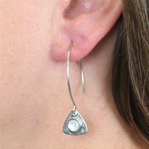 Baked Beads Hammered Triangle Dangle Earrings