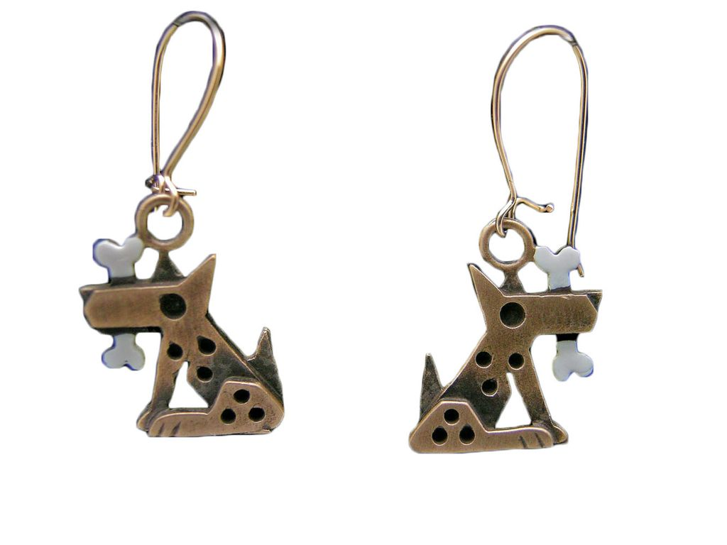 Chickenscratch Bronze Fido Earrings