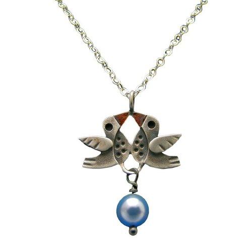 Chickenscratch Lovebirds Pendant Necklace