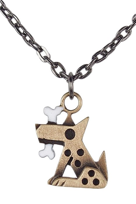 Chickenscratch Bronze Fido Pendant Necklace