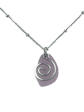 Baked Beads Frosted Glass Swirl Neclace
