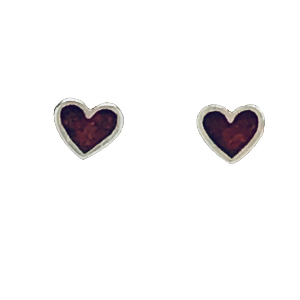 Coral Heart Post Earrings