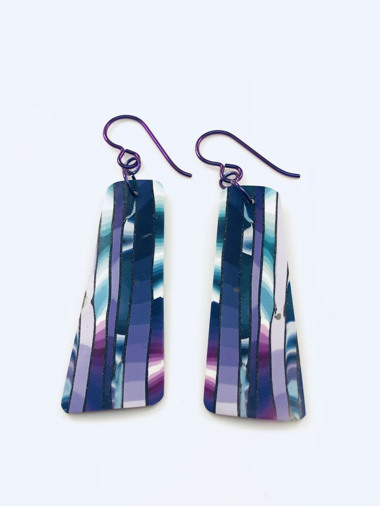 Multi Striped Veneer Earrings