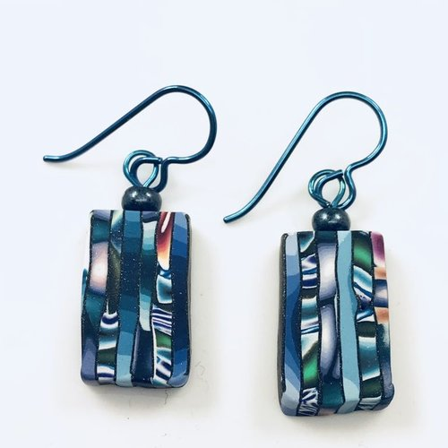 Multi Striped Slice Earrings