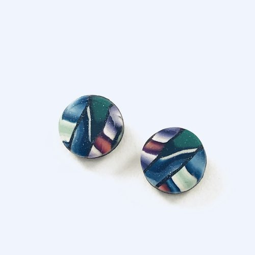 Multi Striped Post Earrings