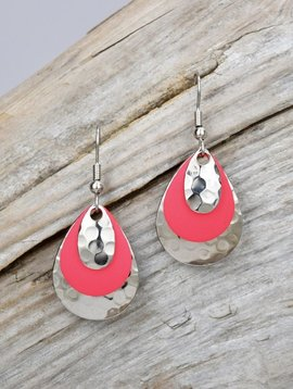 Eye Catching Jewelry Layered Silver & Pink Earrings