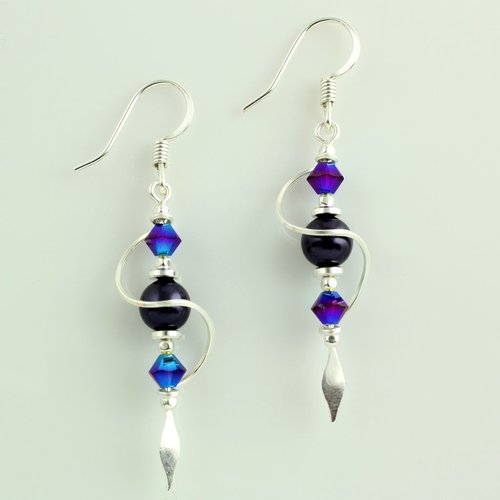 Harpstone Purple Swirl Earrings