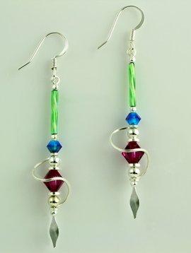 Harpstone Multi Color Spiral Earrings