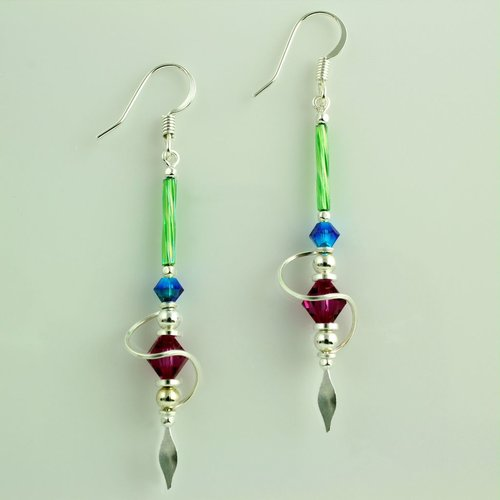 Harpstone Multi Color Spiral Earrings