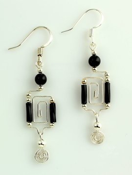 Harpstone Greek Key Earrings
