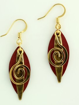 Harpstone Red Copper Layered Earrings