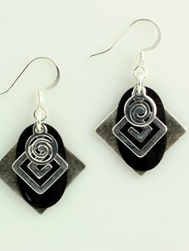 Harpstone Black and Silver Layered Earrings