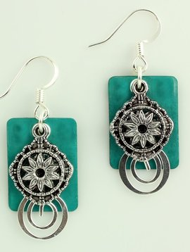 Harpstone Teal Swirl Layered Earrings