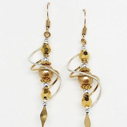 Harpstone Double Spiral Crystal Earrings