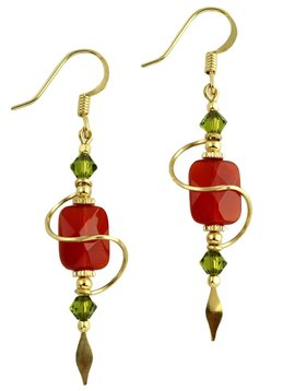 Harpstone Carnelian Spiral Earrings