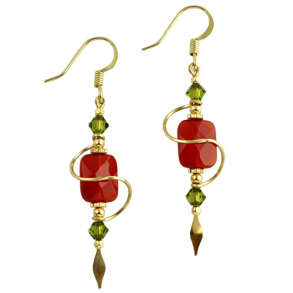 Harpstone Carnelian Spiral Earrings