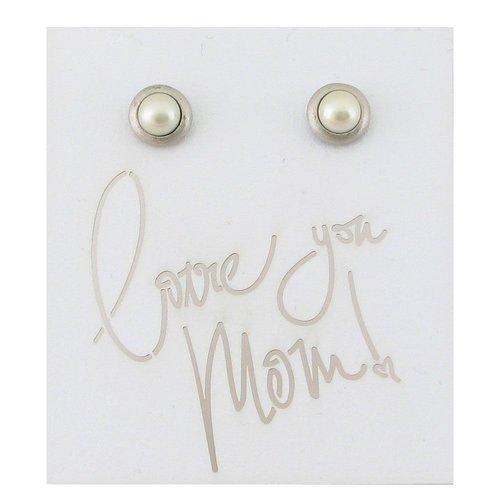 Baked Beads Pearl Post Earrings