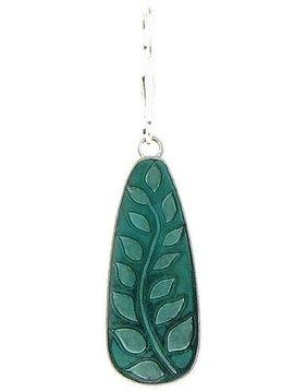 Baked Beads Enamel Leaf Teardrop Earrings