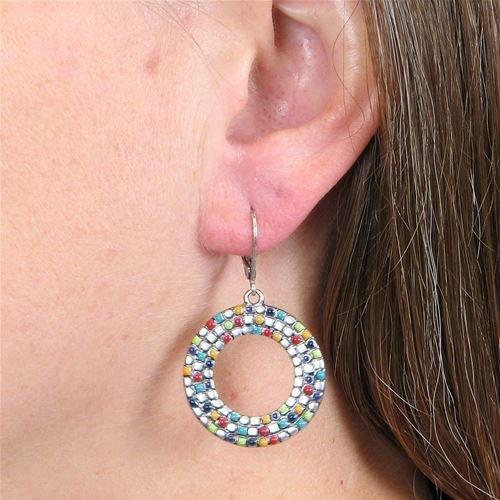 Baked Beads Mosaic Hoop Earrings