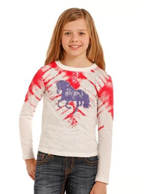 Panhandle Slim Girl's Shirt Red Tie Dye, Purple Horse G4T3365